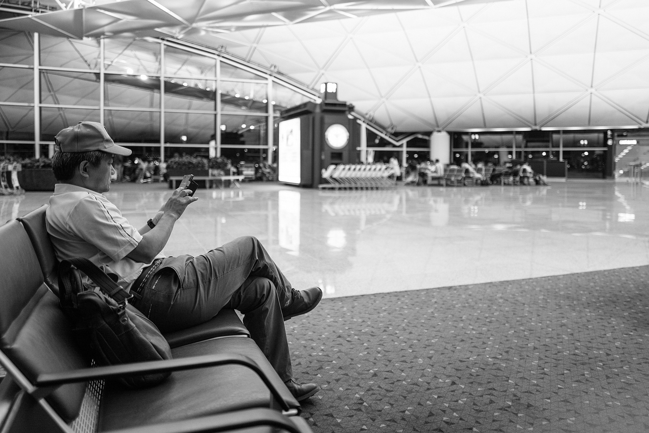 Japanese Traveler in Hong Kong Airport